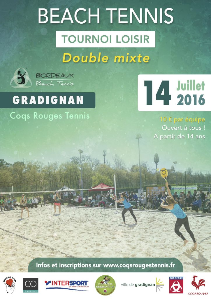Tournoi loisir double mixte beach tennis